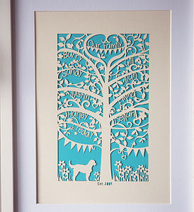 Family Tree Unframed A4 Papercut - gifts for the home