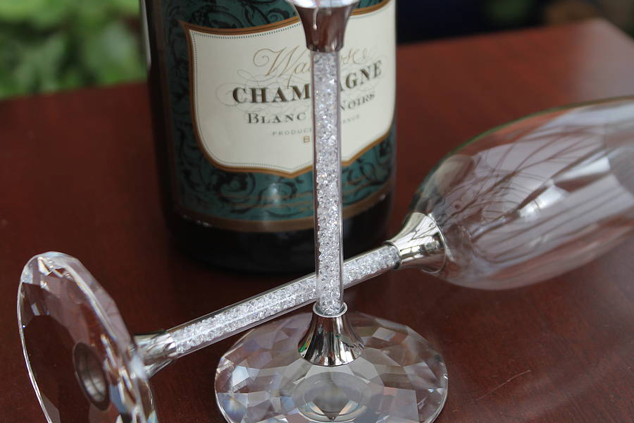 Pair Of Champagne Flutes With Swarovski Crystals