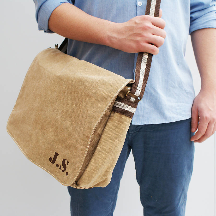 personalised canvas laptop messenger bag by sparks clothing ...