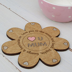 'Love You Mum' Personalised Flower Coaster - dining room