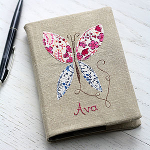 Personalised Embroidered Notebook   Butterfly - 4th anniversary: linen