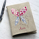 Thumb personalised vintage linen notebook