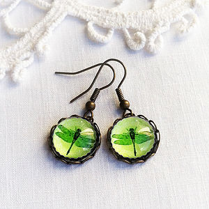 Green Glass Dragonfly Earrings