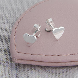 Girls Tiny Sterling Silver Heart Earrings - gifts for her