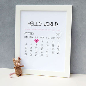 Personalised Baby Birth Date Print - home accessories