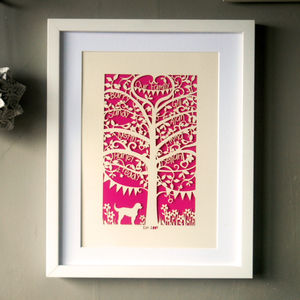 Family Tree Unframed Paper Cut - home accessories