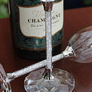 Pair Of Diamante Filled Stem Wine Glasses