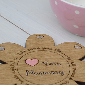 'Love You Mummy' Personalised Flower Coaster - gifts from younger children