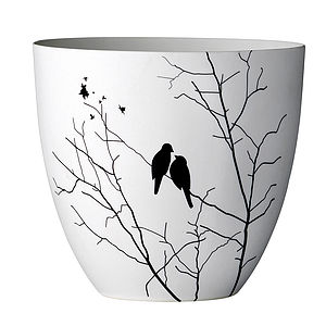 Translucent Bird Decorated Votive - cool tones