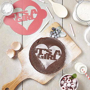 It's A Girl! Announcement Cake Stencil - home sale