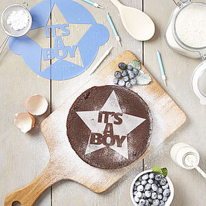 'It's A Boy!' Announcement Cake Stencil - cake decoration