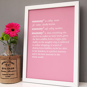 Personalised Mum / Mummy Dictionary Print - being a mum