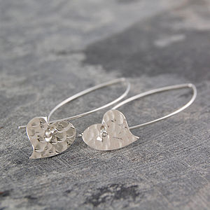 Battered Heart Sterling Silver Drop Earrings