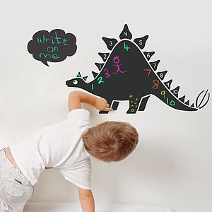 Chalkboard Dinosaur With Numbers Wall Sticker - wall stickers