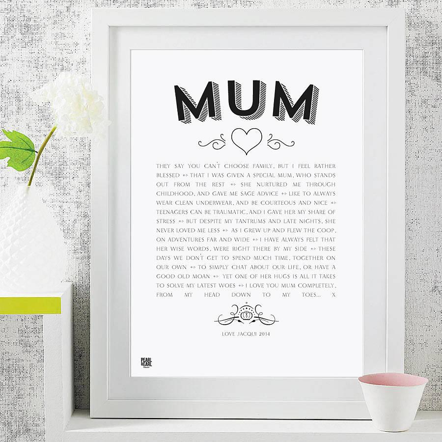 My Mum Poem Modern Style Art Print