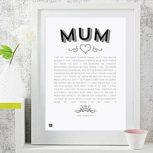 'My Mum' Poem Modern Style Art Print