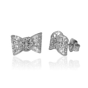 Silver Ethical Filigree Bow Stud Earrings