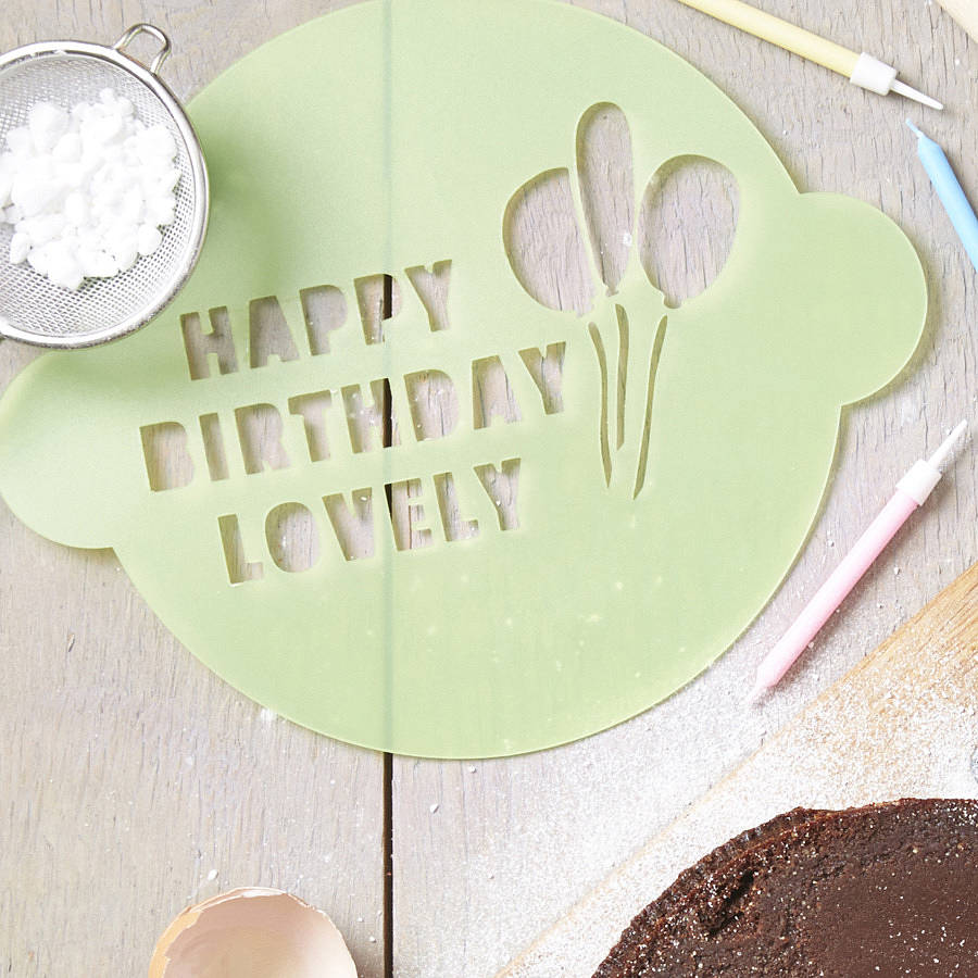 Personalised Happy Birthday Cake Stencil By Sophia