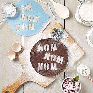 Nom Nom Nom Cake Stencil - kitchen accessories