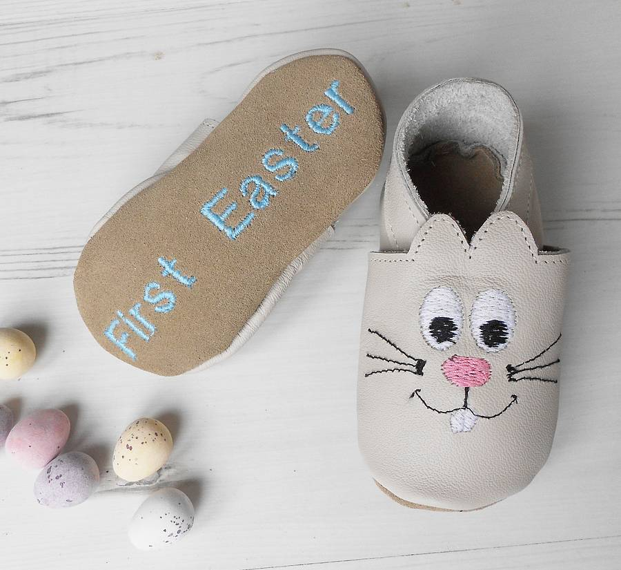 Personalised easter bunny baby shoes by born bespoke personalised easter bunny baby shoes negle Images