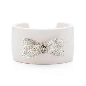 Filigree Bow Resin Cuff Bangle White - bracelets & bangles