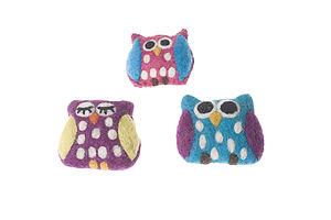 Handmade Felt Owl Brooch Teal/Pink/Purple - children's jewellery