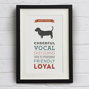 Basset Hound Dog Breed Traits Print