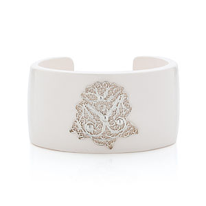 Filigree Flower Resin Cuff Bangle White - bracelets & bangles
