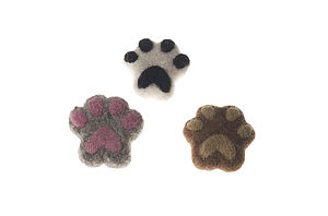 Handmade Felt Dog Paw Brooch Black/Beige/Pink - children's jewellery