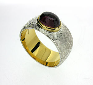 Garnet Hammered Silver And Gold Ring - rings