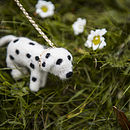 Handmade Felt Dalmatian Dog Brooch