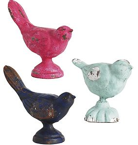 Colourful Metal Birds Trio - art & decorations