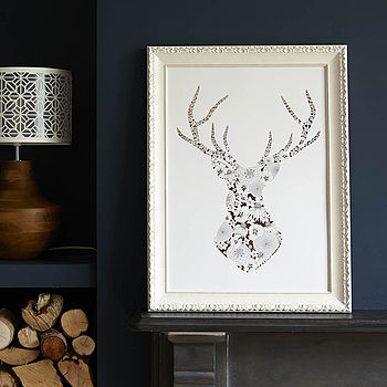 Gold Stag's Head Print