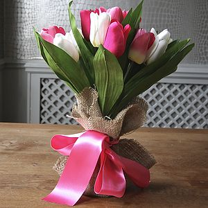 Bunch Of Pink And White Artificial Tulips - mother's day