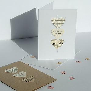 Handmade Poetry And Music Heart Card - anniversary cards