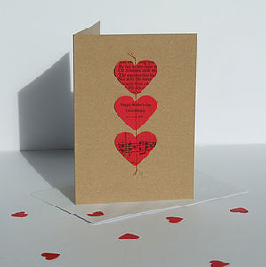 Red Poetry And Music Heart Card