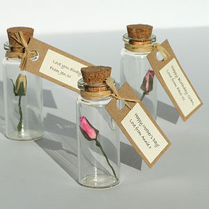 Tiny Personalised Rosebud In A Bottle - valentine's cards