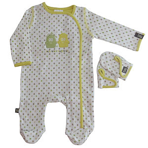 Classic Dots Sleepsuit And Mitten Set