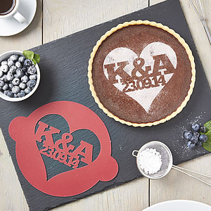 Personalised Special Date Heart Cake Stencil - engagement gifts