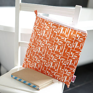 Orange Rectangles Wash Bag - wash & toiletry bags