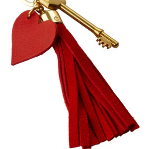 Red Suede Heart Key Ring