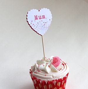 12 Personalised Heart Food Flags - cake toppers & decorations