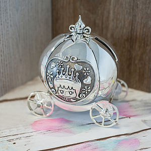 Silver Plated Carriage Money Box - storage & organisers