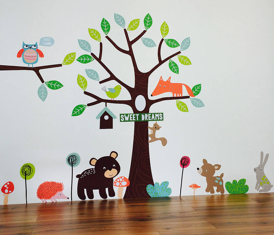 children 39 s forest friends wall stickers by parkins. Black Bedroom Furniture Sets. Home Design Ideas