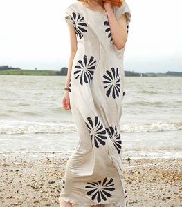 Floral Oriental Hand Printed Dress - dresses