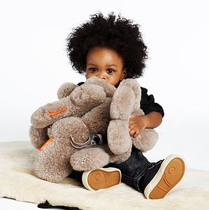 Large Sheepskin Cuddle Bear - soft toys & dolls