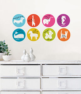 Days Of The Week Animal Wall Stickers - office & study
