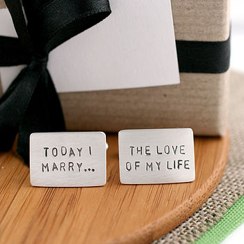 Personalised Message Silver Cufflinks