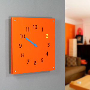Steel Wall Clock, Orange