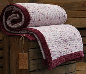 Velvet Edged Hand Stitched Gudri Quilt - bedroom